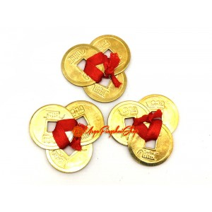 3 Gold Coins tied in Red Ribbon (Set of 3)
