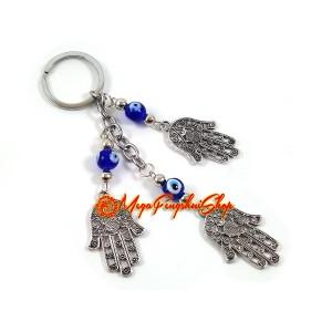 3 Hamsa Hands Mediterranean Evil Eye Keychain