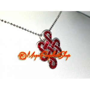 925 Silver Feng Shui Mystic Knot Pendant with Red Swarovski Crystals