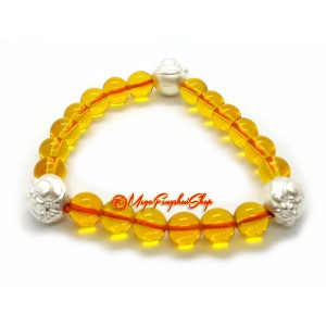999 Silver Laughing Buddha Charm with Brazilian Citrine Bracelet