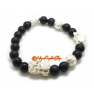 999 Silver Pi Yao Charm with Obsidian Bracelet