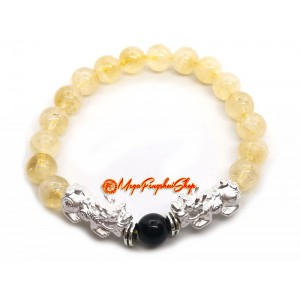 A Pair of 925 Silver Pi Yao with Citrine Bracelet