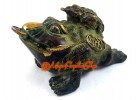 Antiquated Brass Feng Shui Money Frog with Child