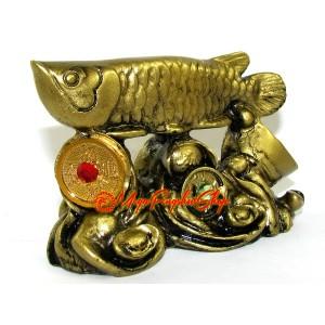 Arowana on Bed of Treasure (brass color)
