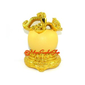 Auspicious Golden Apple with Money Toad and Ruyi
