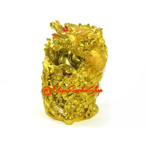 Auspicious Golden Dragon Pen Holder