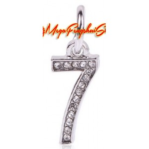 Bejeweled 0 to 9 Lucky Number Dangle Pendant Charm (Silver Plated)
