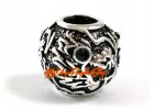 Bejeweled Auspicious Dragon Charms Bead (Silver Plated)