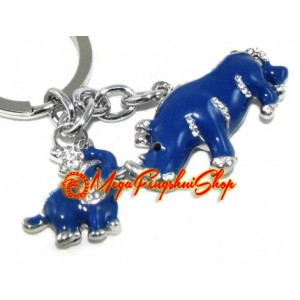 Bejeweled Blue Rhino and Elephant Keychain
