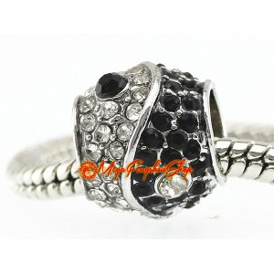 Bejeweled Chinese Yin Yang Bead Charm (Silver Plated)