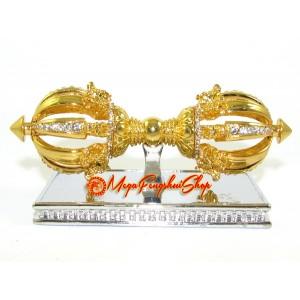 Bejeweled Eight Spoke Golden Dorje