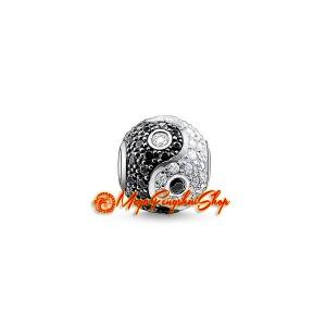 Bejeweled Feng Shui Yin Yang Ball Charm Bead (925 Silver)