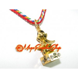 Bejeweled Five Element Pagoda Feng Shui Pendant (Gold)