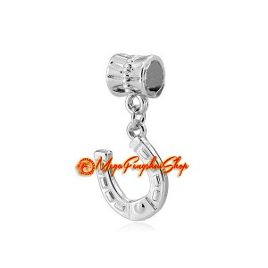 Bejeweled Lucky Horseshoe Dangle Pendant Charm (Rhodium Plated)