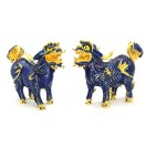 Bejeweled Pair of Blue Feng Shui Pi Yao