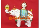Bejeweled Power White Elephant Carrying Flaming Jewel