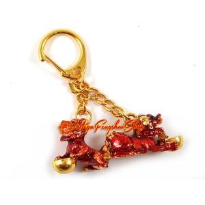 Bejeweled Red Tzi Chi Kau Feng Shui Keychain