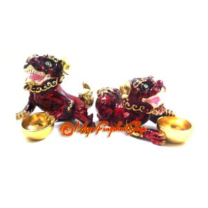 Bejeweled Red Tzi Chi Kau Fu Dogs