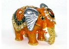 Bejeweled Wish-Fulfilling Elephant with Trunk Down