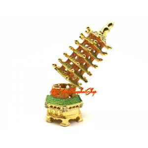 Bejeweled Wish-Granting 7-Level Feng Shui Pagoda