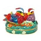 Bejeweled Wishfulfilling Pair of Mandarin Ducks