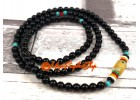 Black Obsidian 108 Prayer Beads with Om Mani Padme Hum