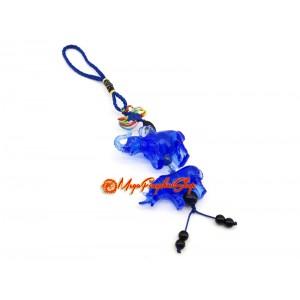 Blue Liuli Elephant and Rhino Protection Hanging