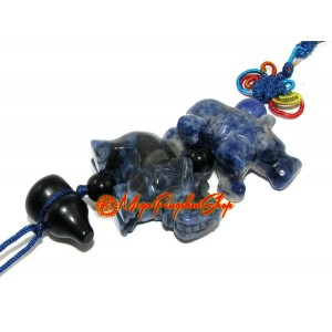 Blue Sodalite Rhino and Elephant Protection Hanging