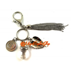 Bodhi Leaf with Crystal Feng Shui Keychain