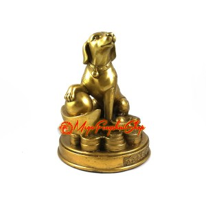 Brass Auspicious Dog with Gold Ingot