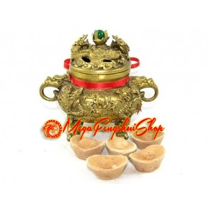 Brass Dragon Incense Burner with Green Crystal Ball
