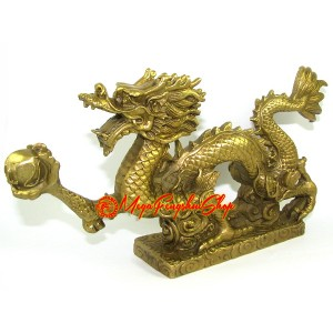 Brass Feng Shui Dragon Grasping Ball of Success (L)