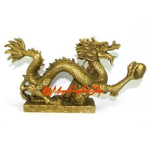 Brass Feng Shui Dragon Grasping Ball of Success (L)
