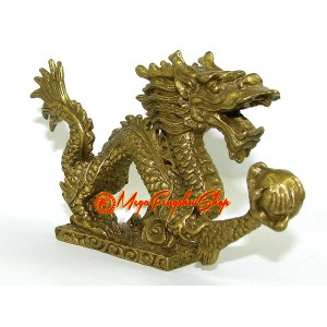 Brass Feng Shui Dragon Grasping Ball of Success