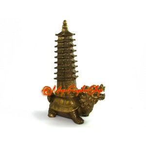 Brass Feng Shui Tortoise with Pagoda