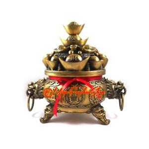 Brass Feng Shui Wealth Pot Incense Burner