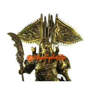 Brass Majestic Five Flags Kwan Kung Statue (XL)