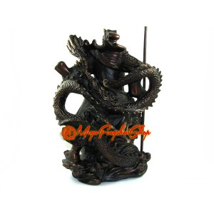 Brass Majestic Kwan Kung with Dragon for Success