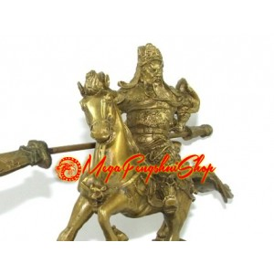Brass Majestic Kwan Kung on Horse (S)