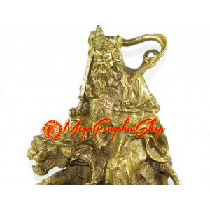 Brass Military Wealth God on Tiger (XL)