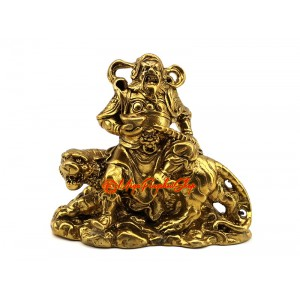 Brass Military Wealth God Sitting on Tiger
