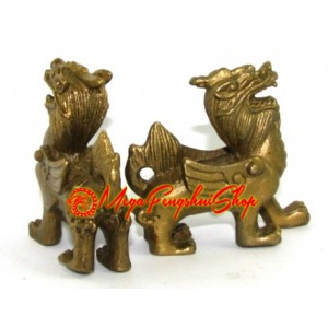 Brass Mini Pair of Feng Shui Piyao
