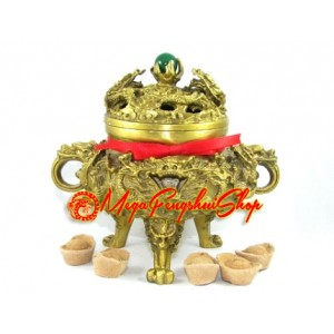 Brass Nine Dragons Incense Burner (L)