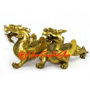 Brass Pair of Auspicious of Feng Shui Pi Yao