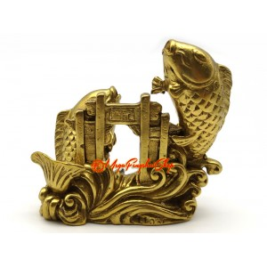 Brass Pair of Carps Jumping over Dragon Gate