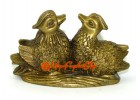 Brass Pair of Mandarin Ducks for Love and Romance Luck