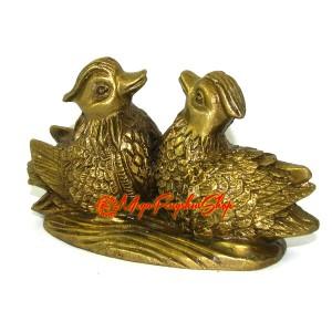 Brass Pair of Mandarin Ducks for Love and Romance Luck