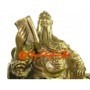 Brass Sitting Kwan Kung Reading Book (L)
