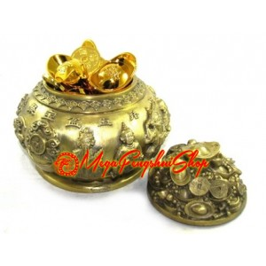 Brass Wealth Pot with Five Wealth Gods