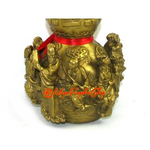 Brass Wu Lou with 3d Eight Immortals (L) for Good Health